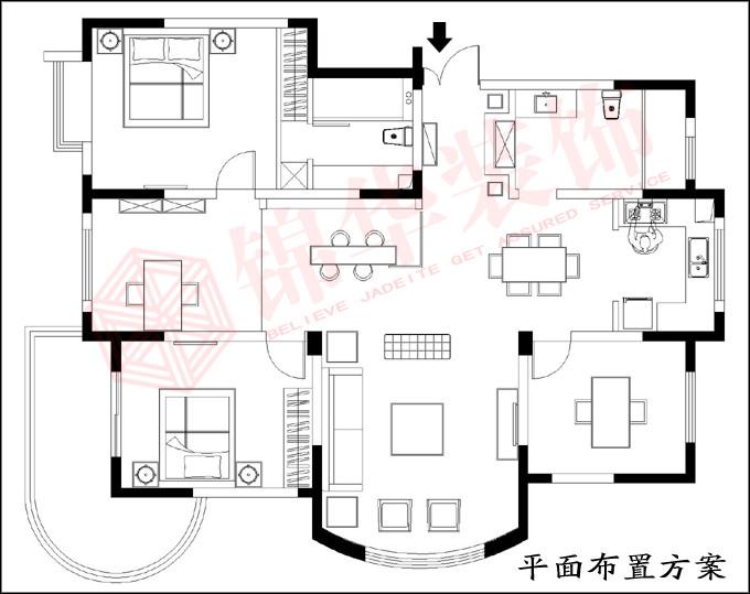 丰中名邸7#04户型-装修设计方案-盐城锦华装饰