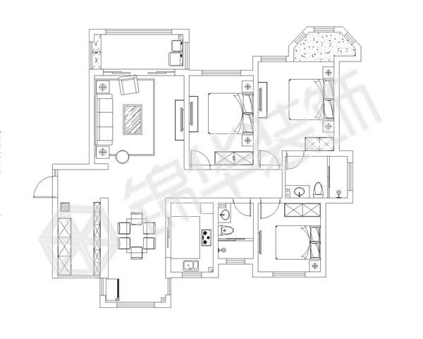 中南世纪城1b地块130平方户型 装修设计方案 盐城锦华装饰
